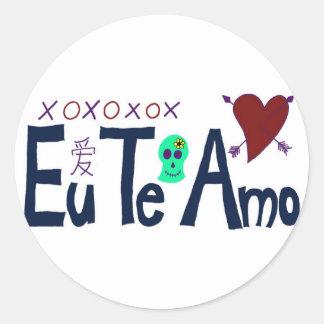 Eu Te Amo Round Sticker