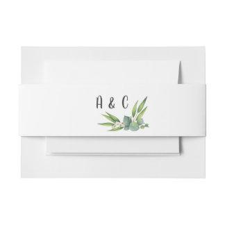 Eucalyptus Foliage Monogram Wedding Invitation Belly Band