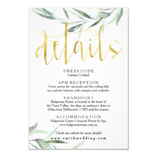 Eucalyptus Gold Wedding Details Card
