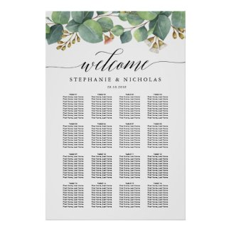 Eucalyptus greenery script seating chart