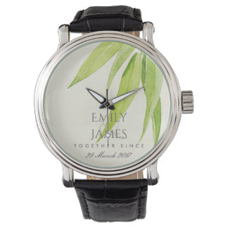 EUCALYPTUS LEAF FOLIAG  SAVE THE DATE WEDDING GIFT WATCH