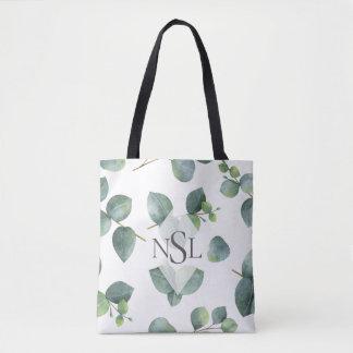 Eucalyptus Leaves Monogram Tote Bag