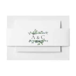 Eucalyptus Leaves Monogram Wedding Invitation Belly Band