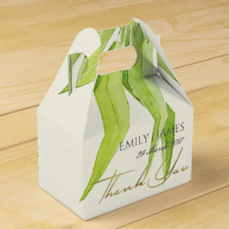 EUCALYPTUS LEAVES WATERCOLOUR FOLIAGE MONOGRAM FAVOR BOX