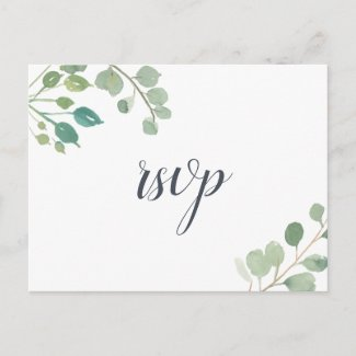 Eucalyptus RSVP Postcard with Meal Choice