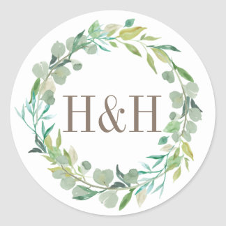 Eucalyptus Sage Green Watercolor Floral Monogram Classic Round Sticker