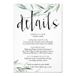 Eucalyptus Wedding Details Card Rustic