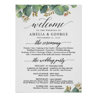 Eucalyptus welcome wedding program sign