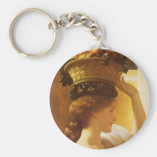 Eucharis - Girl With a Basket of Fruit by Leighton Basic Round Button Keychain