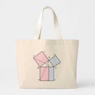 Euclid's proof of the pythagorean theorem large tote bag
