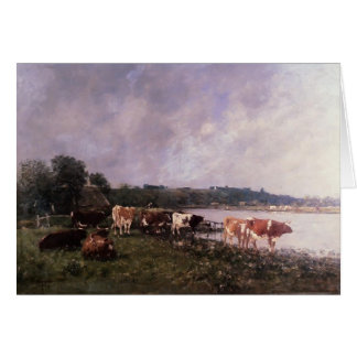 Eugene Boudin- Cows on Riverbanks of the Touques Card