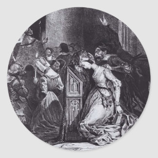 Eugene Delacroix: Marguerite in the Church Classic Round Sticker