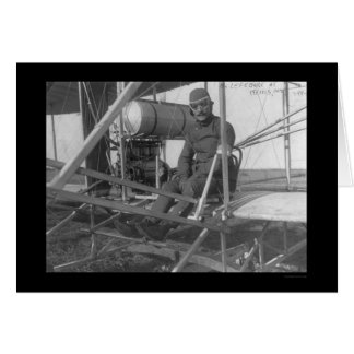 Eugene Lefebvre Seated at his Airplane 1909 Card