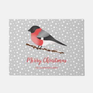 Eurasian Bullfinch Merry Christmas And Family Name Doormat