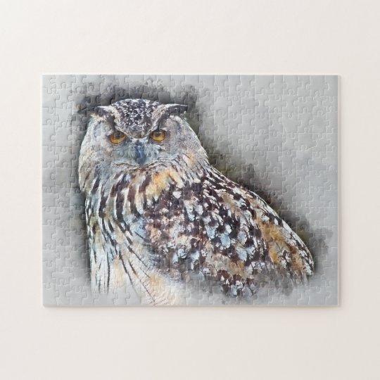 Eurasian Eagle Owl Watercolor Portrait Jigsaw Puzzle