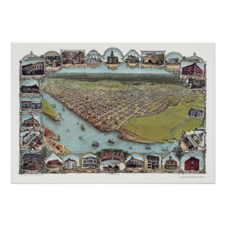 Eureka, CA Panoramic Map - 1902 Poster