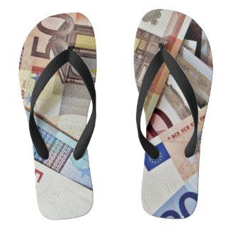 Euro Banknote Footwear Flip Flops