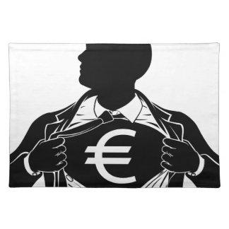 Euro Business Man Superhero Tearing Shirt Chest Placemat