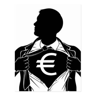 Euro Business Man Superhero Tearing Shirt Chest Postcard