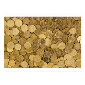 Euro Coins Currency Money Yellow Market Europe Postcard