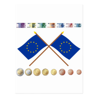 Euro Currency and Coins through 2006, with EU Flag Postcard