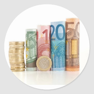 euro rolled bills and coin classic round sticker