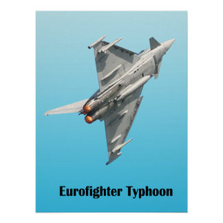 Eurofighter Typhoon on blue  background Poster