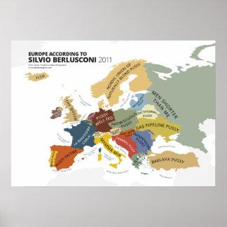 Europe According to Silvio Berlusconi Poster