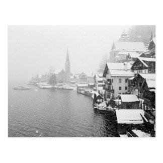 Europe, Austria, Hallstat. Town view in the snow Postcard
