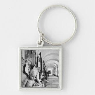 Europe, Austria, Salzburg. Cherub and monument 2 Silver-Colored Square Keychain