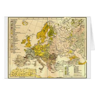 Europe ethnic map 1897 (hungarian version) card