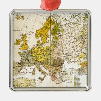 Europe ethnic map 1897 (hungarian version) metal ornament