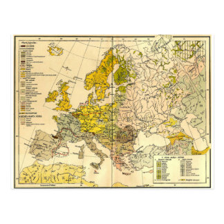 Europe ethnic map 1897 (hungarian version) postcard