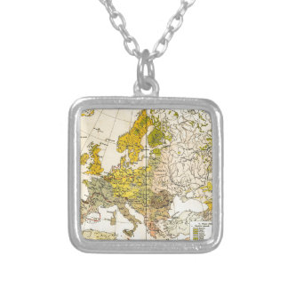 Europe ethnic map 1897 (hungarian version) silver plated necklace