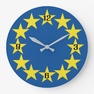 Europe European Flag Stars Nation Euro Large Clock