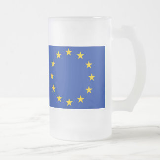 Europe flag frosted glass beer mug