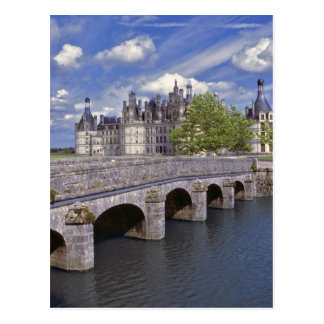Europe, France, Chambord. A stone bridge leads Postcard