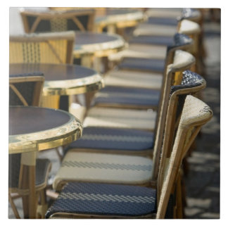 Europe, France, Paris, Beaubourg: Cafe Tables / Ceramic Tile