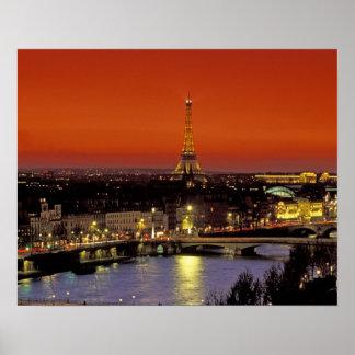 Europe France Paris Sunset view of Eiffel Print