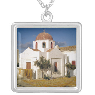 Europe, Greece, Mykonos. Fishing nets dry on the Square Pendant Necklace