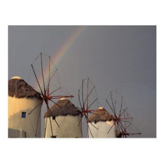 Europe, Greece, Mykonos. wind mill with rainbow Postcard