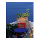 Europe, Greece, Santorini. Terrace with sea view Postcard