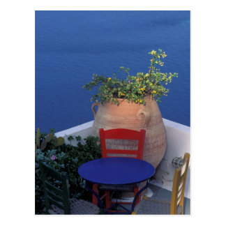 Europe, Greece, Santorini. Terrace with sea view Postcard