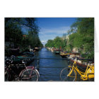 Europe, Holland, Amsterdam, yellow bicycle and Card