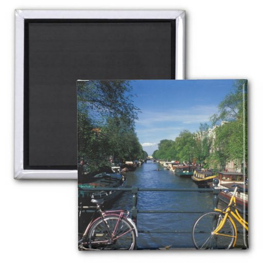 Europe, Holland, Amsterdam, yellow bicycle and Fridge Magnets