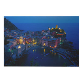 Europe, Italy, Cinque Terre, Vernazza. Hillside Wood Canvas
