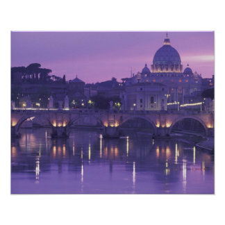 Europe, Italy, Rome. St. Peter's and Ponte Sant Poster