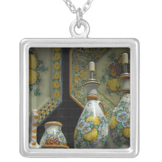 Europe, Italy, Sicily, Taormina. Traditional 7 Silver Plated Necklace