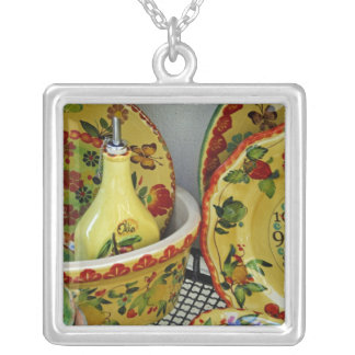 Europe, Italy, Sicily, Taormina. Traditional 8 Silver Plated Necklace
