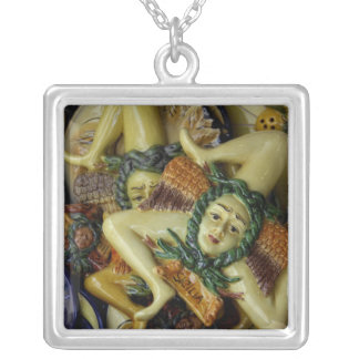 Europe, Italy, Sicily, Taormina. Traditional 9 Silver Plated Necklace